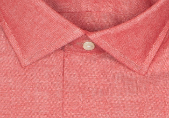 Chambray Spread Collar Shirt - Red