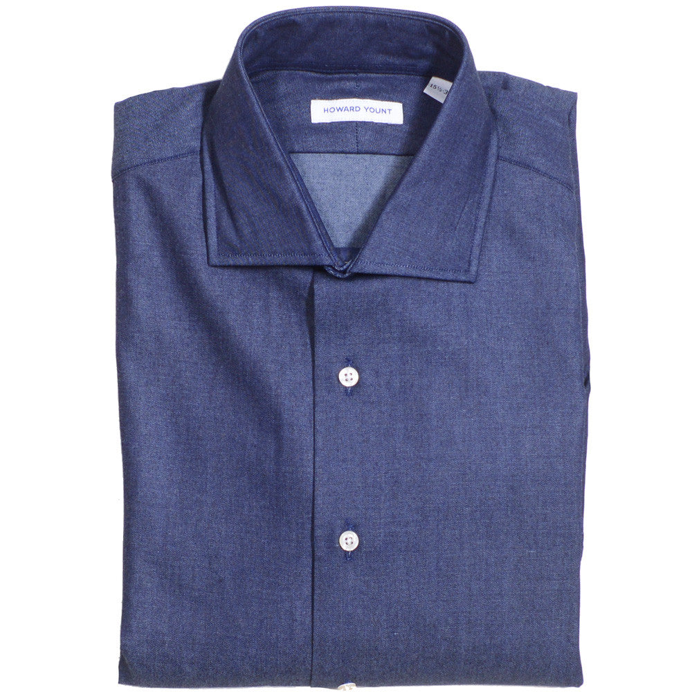 Denim Spread Collar Shirt - Dark Blue