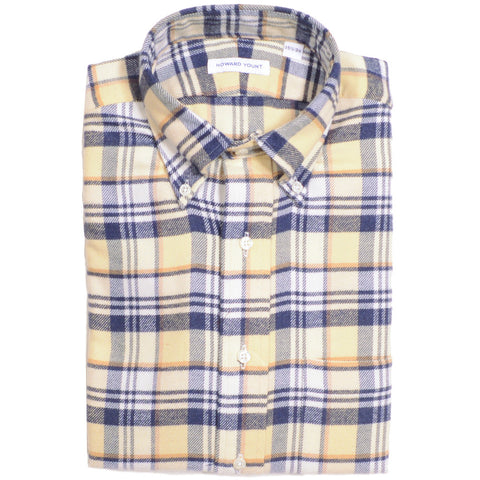 Flannel Plaid Shirt - Cream, White, and Blue Gray - L