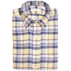 Flannel Plaid Shirt - Cream, White, and Blue Gray