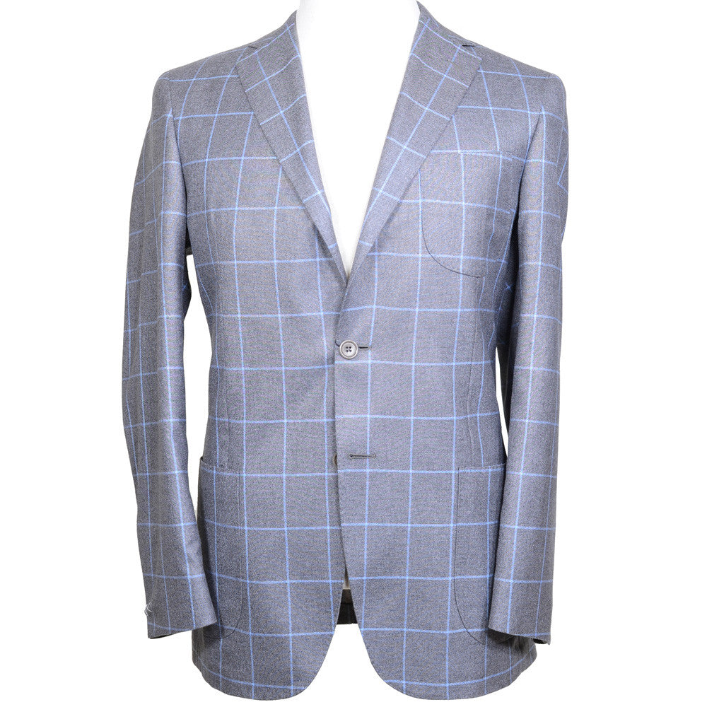 Loro Piana Silk and Cashmere Windowpane Jacket - Brown and Blue