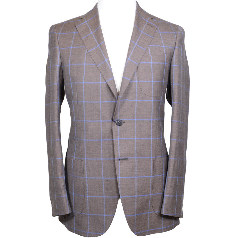 Zegna Wool, Linen, and Silk Windowpane Jacket - Brown and Blue