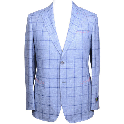 Linen Wool Windowpane Jacket - Blue - 44