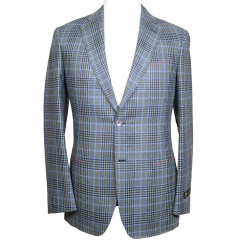 Silk, Linen, and Wool Plaid Jacket - Green and Blue