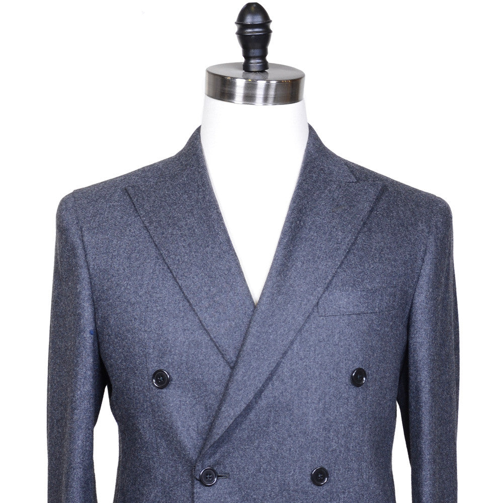 Double Breasted Flannel Suit - Mid Gray