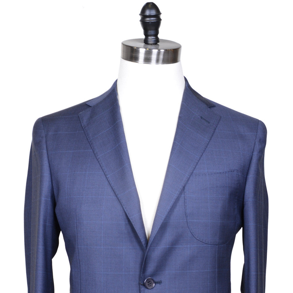 Glen Plaid Super 110s Suit - Navy
