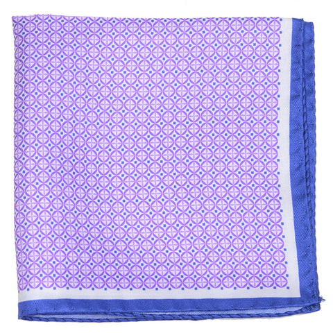 Silk Neat Circle Square Pocket Square - Purple and Blue