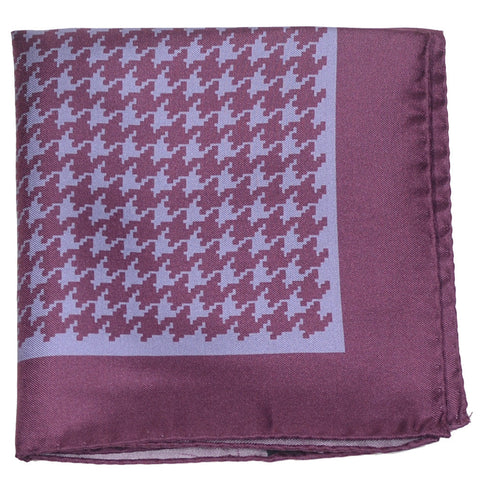 Silk Large Houndstooth Pocket Square - Burgundy and Gray