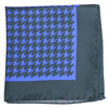 Silk Large Houndstooth Pocket Square - Green and Blue
