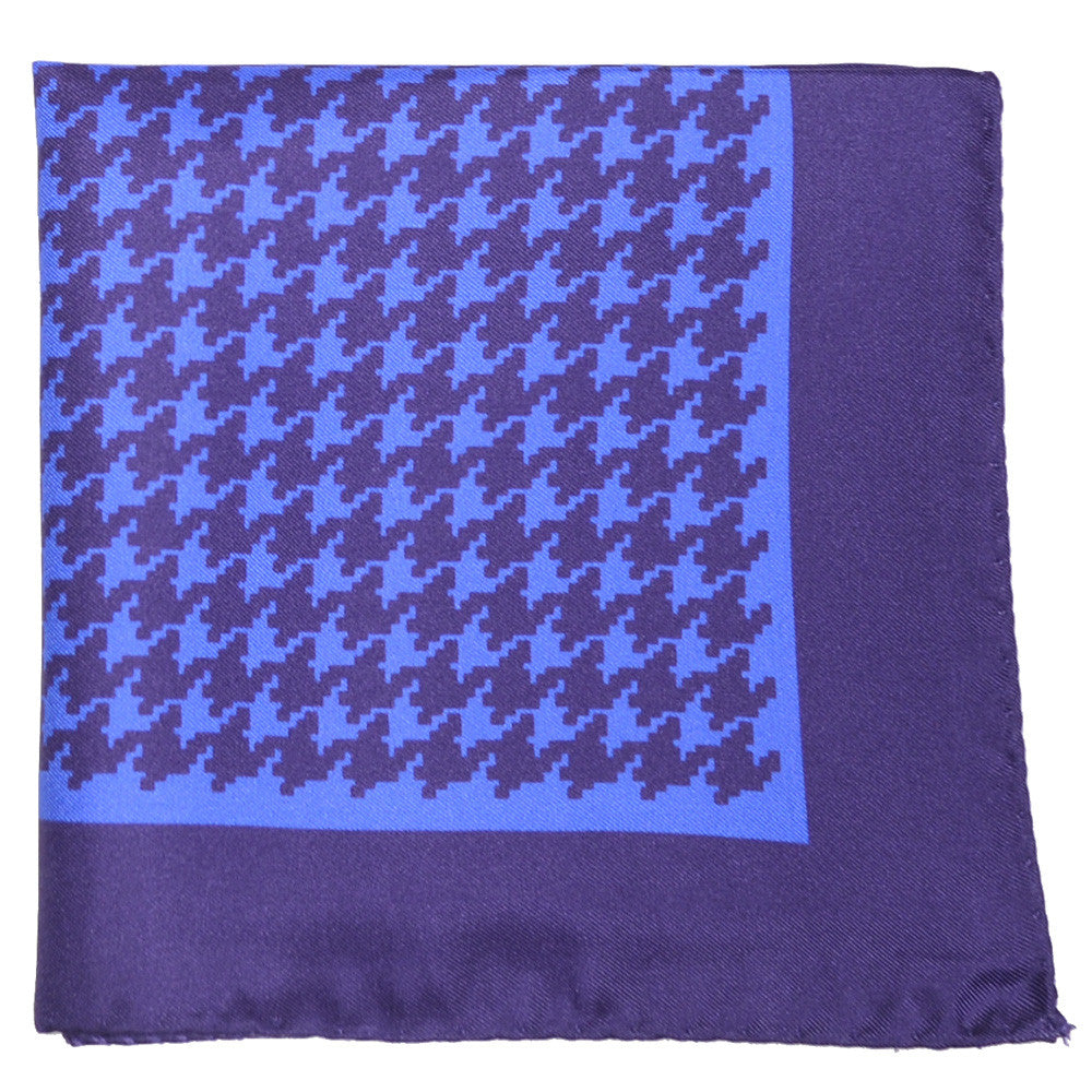 Silk Large Houndstooth Pocket Square - Plum and Blue