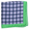 Silk Plaid Pocket Square - Navy, White, Green