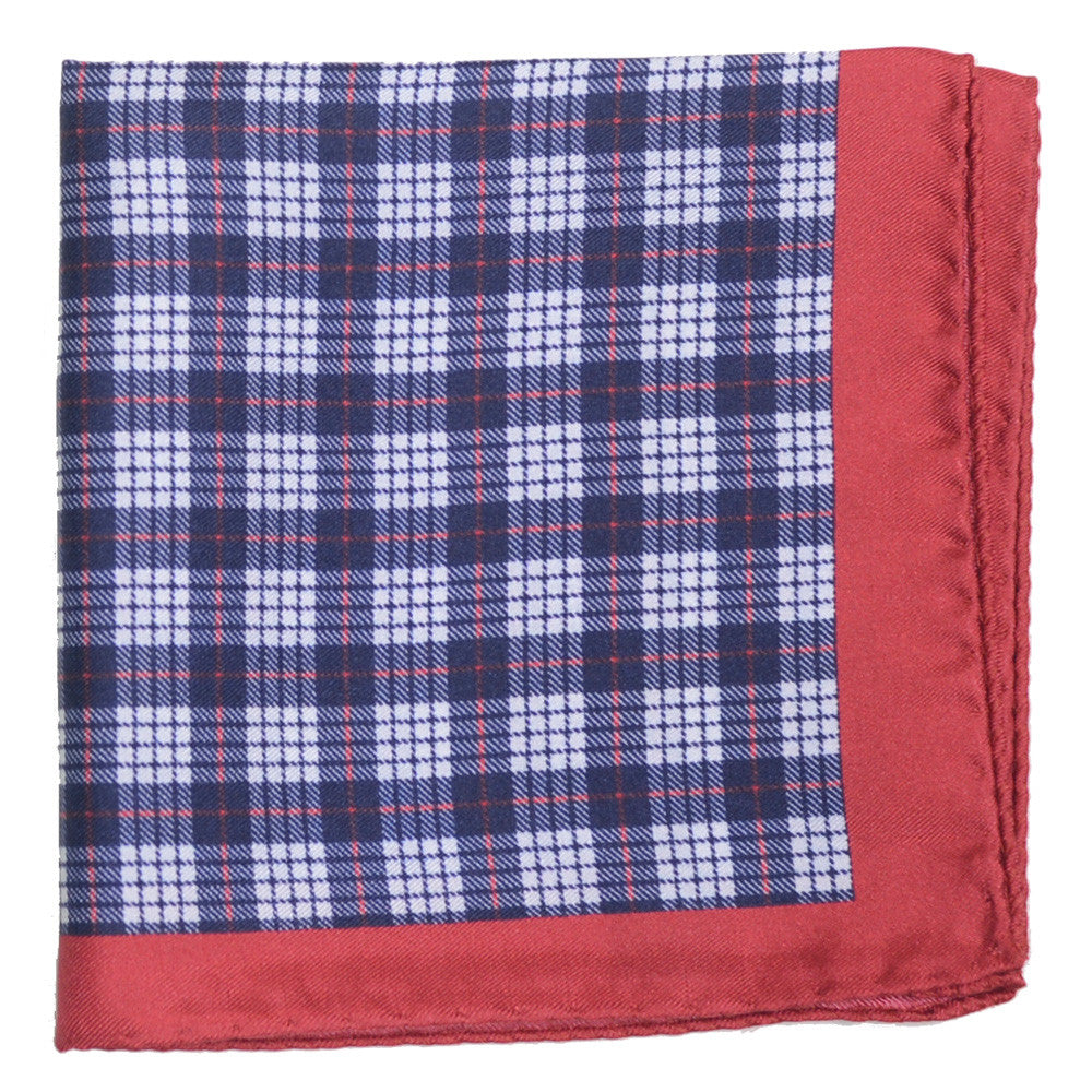 Silk Plaid Pocket Square - Navy, White, Red