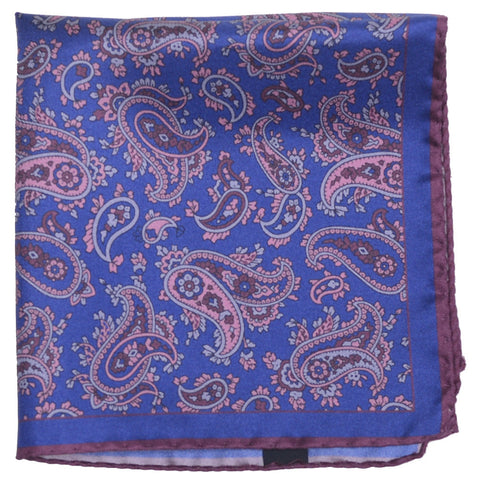 Silk York Paisley Pocket Square - Blue