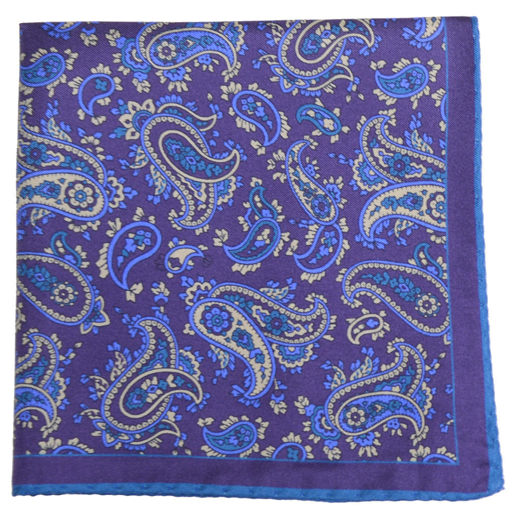 Silk York Paisley Pocket Square - Purple