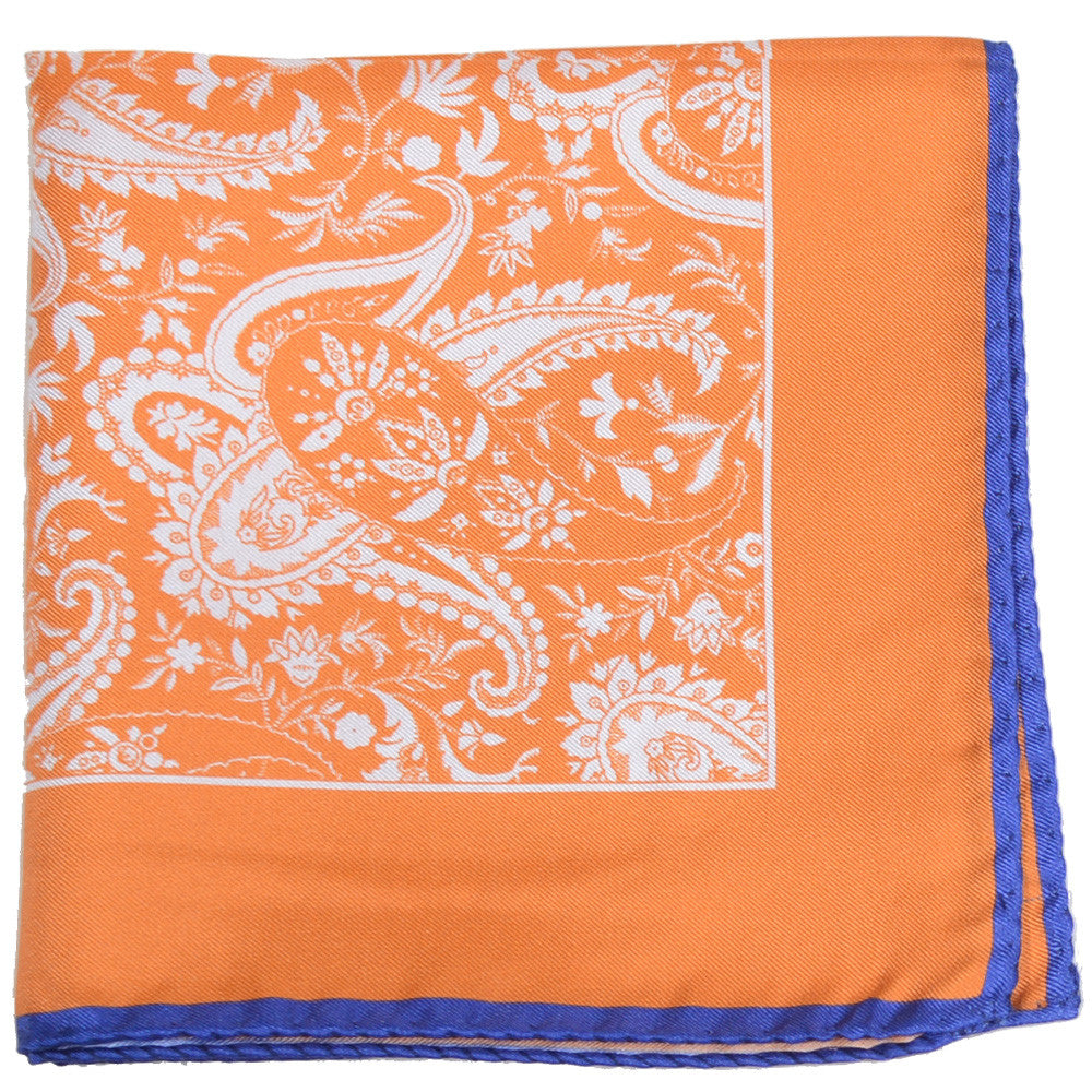 Silk White Paisley Pocket Square - Orange and Blue