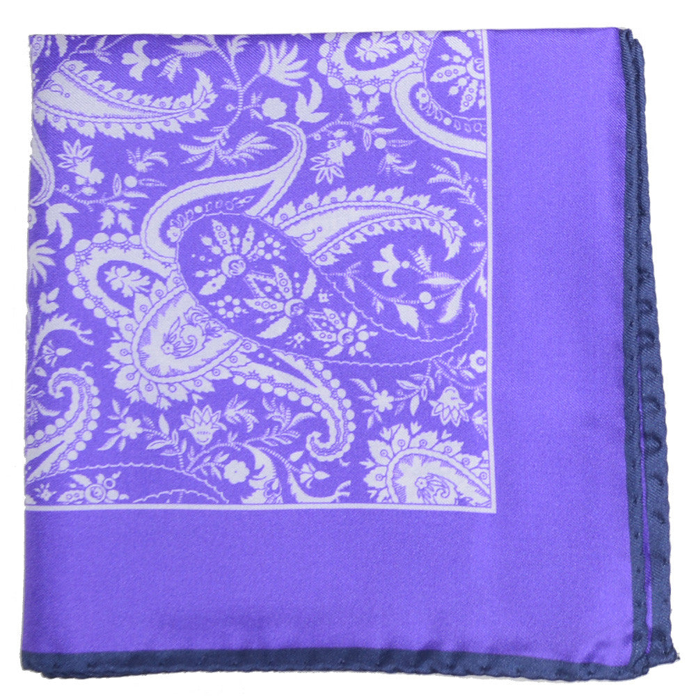 Silk White Paisley Pocket Square - Purple and Navy