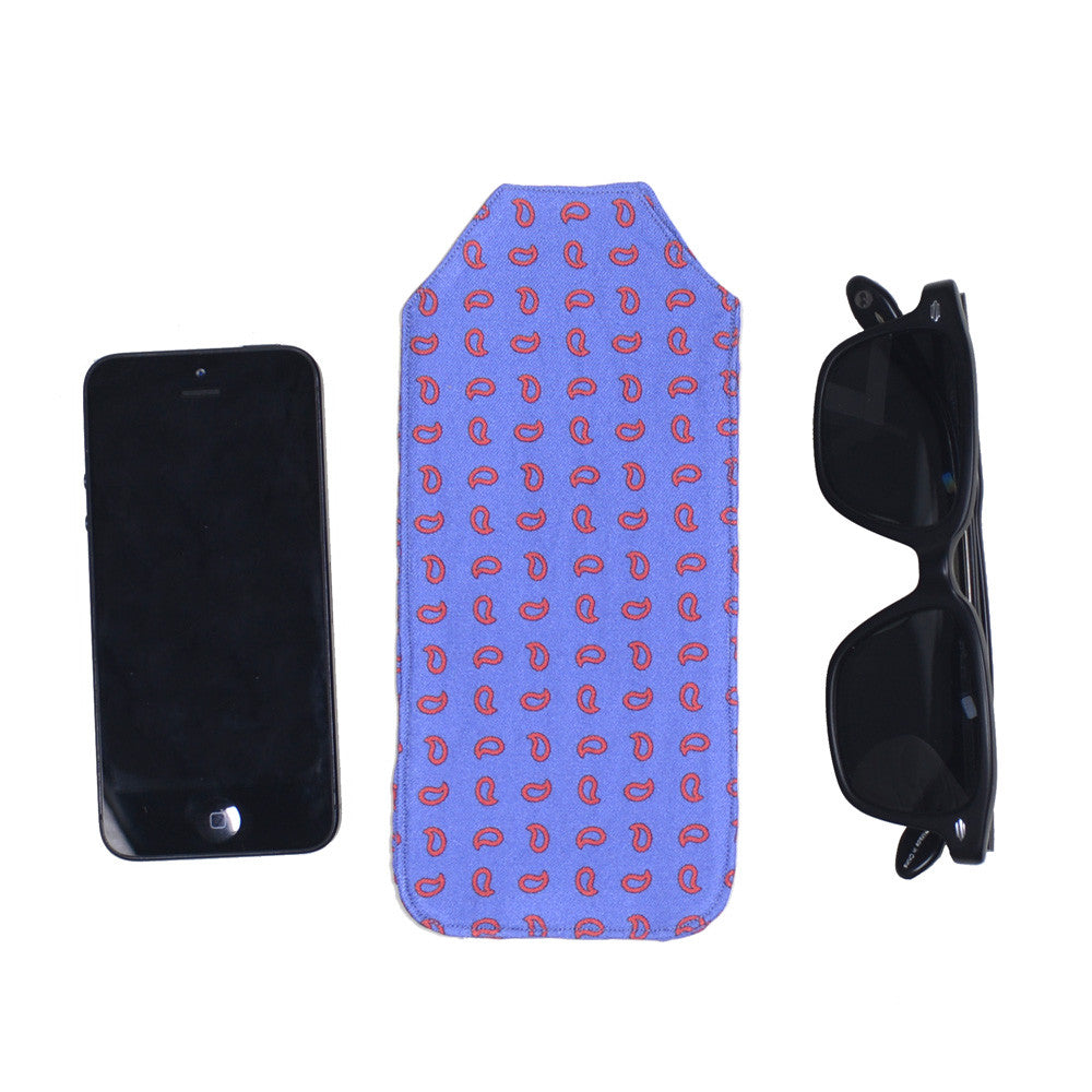 Silk Pocket Case - Blue and Red Paisley