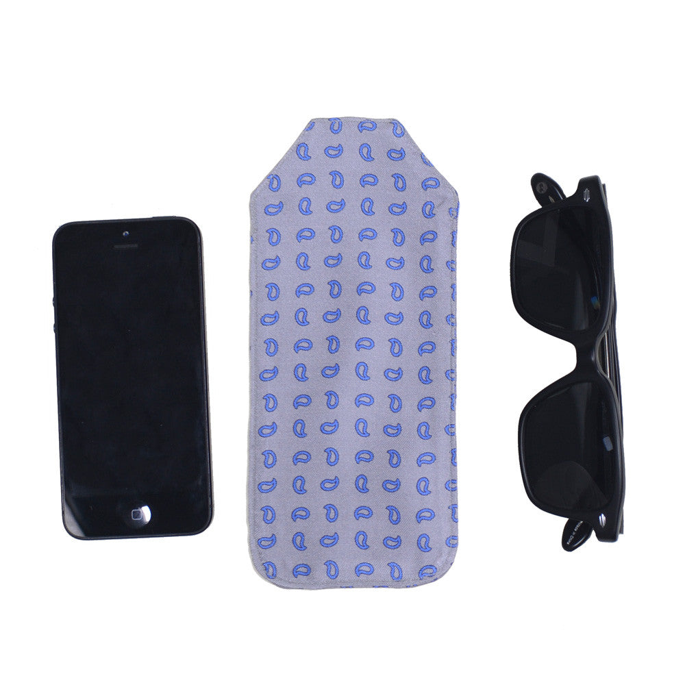 Silk Pocket Case - Gray and Blue Paisley