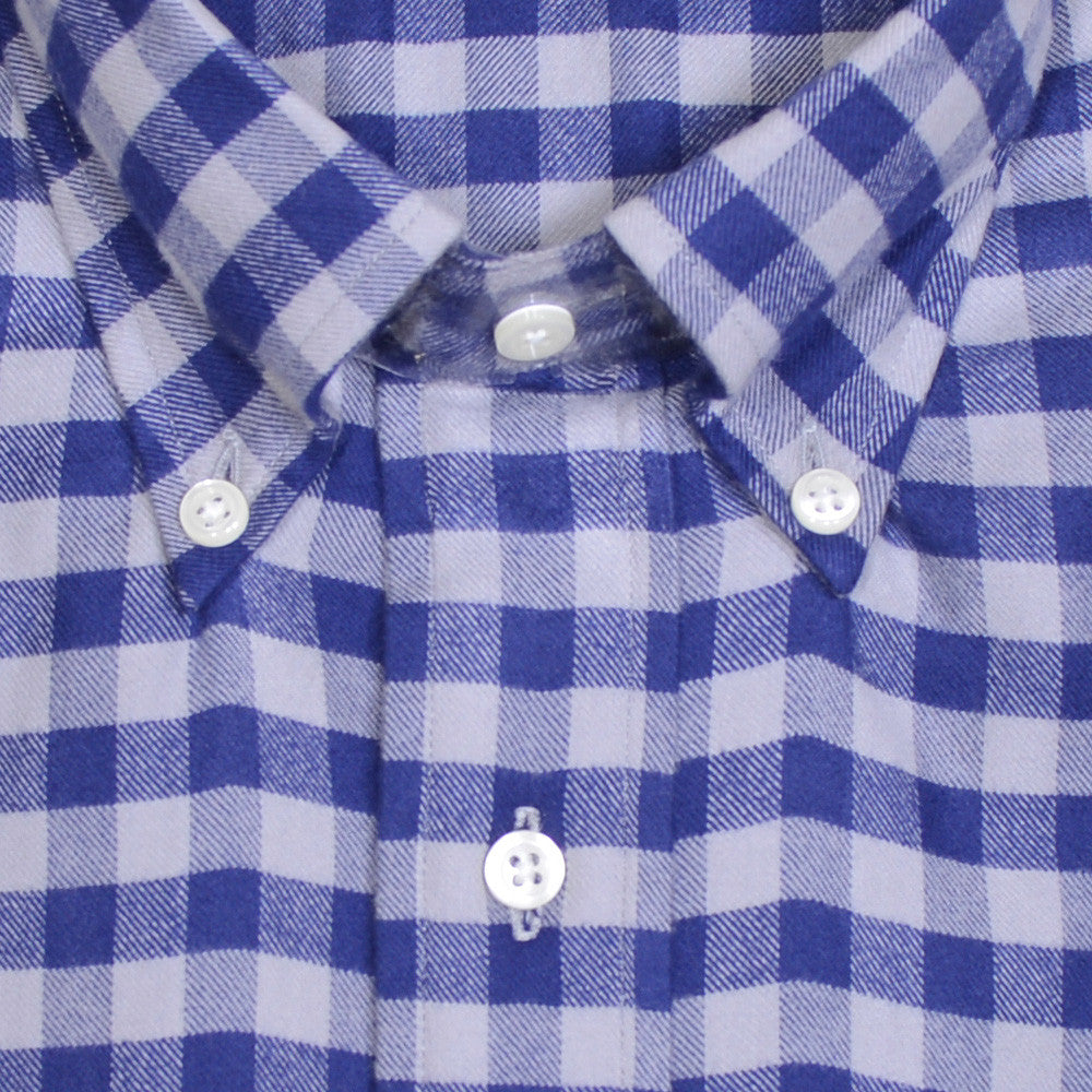 Brushed Twill Gingham Shirt - Blue and Gray
