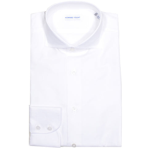 White Basketweave Cotton Shirt