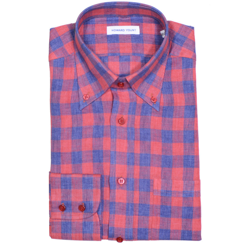 Red and Blue Plaid Linen Shirt
