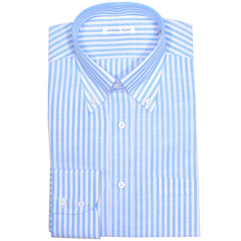 Blue Linen Cotton Stripe Shirt