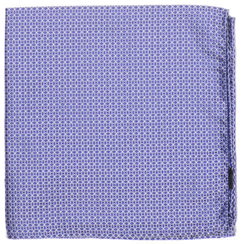 Silk Woven Circles Pocket Square - Navy