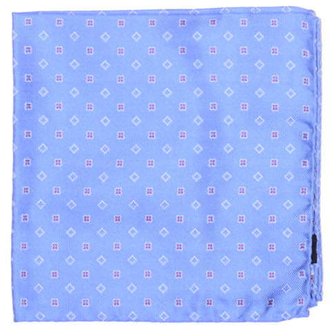 Silk Woven Neat Pocket Square - Light Blue
