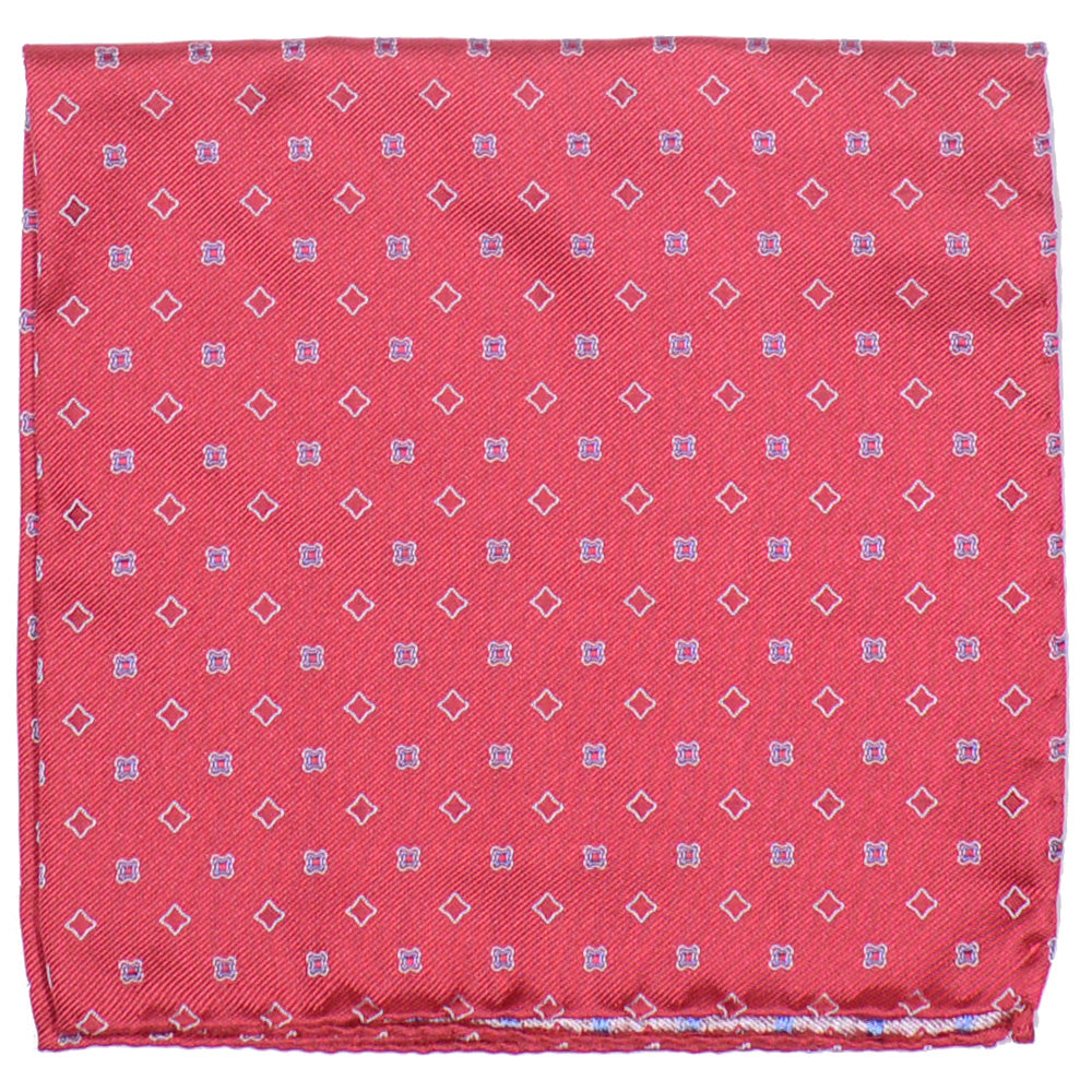 Silk Woven Neat Pocket Square - Red