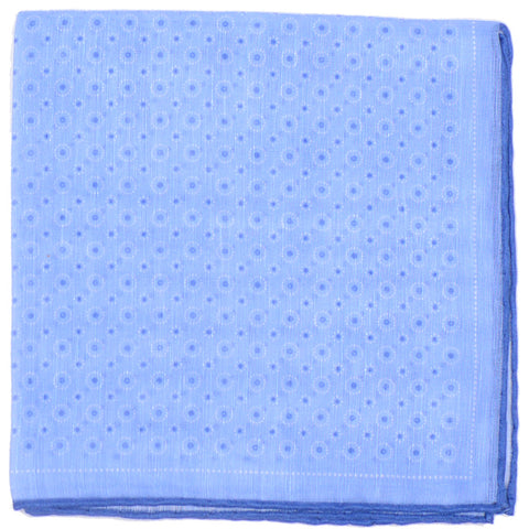 Cotton Linen Dots Circles Square - Blue