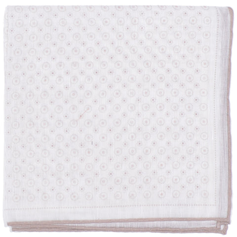 Cotton Linen Dots Circles Square - Cream and Brown