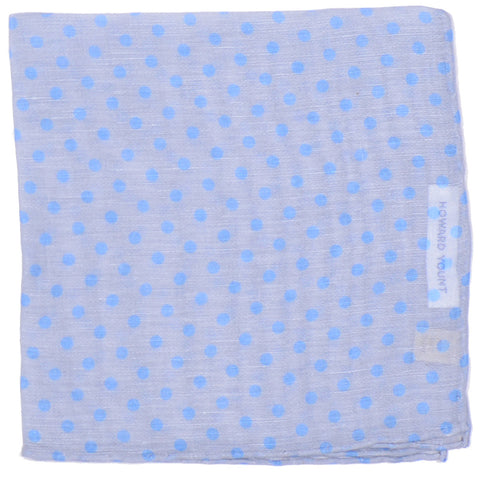 Cotton Linen Dots Pocket Square - Gray and Blue