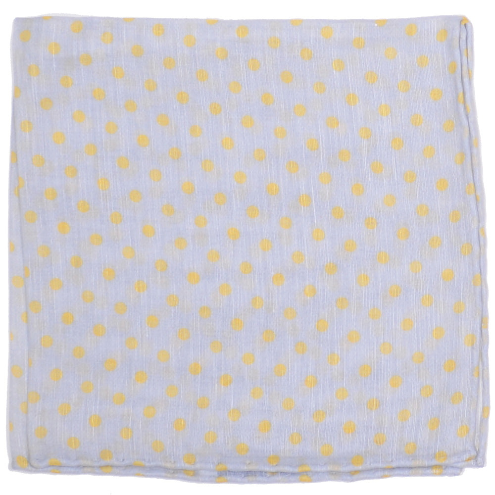 Cotton Linen Dots Pocket Square - Gray and Yellow