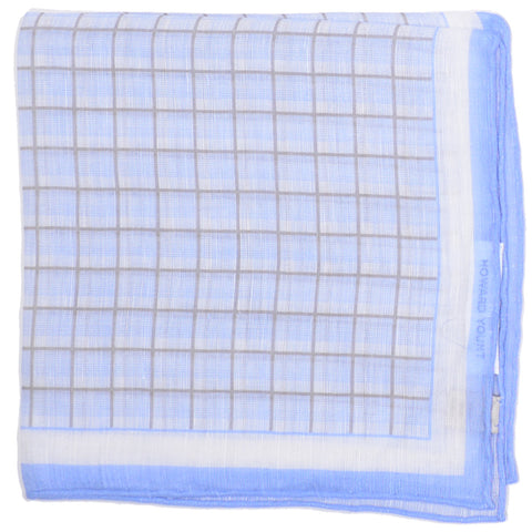 Cotton Linen Graph Square Square - Blue