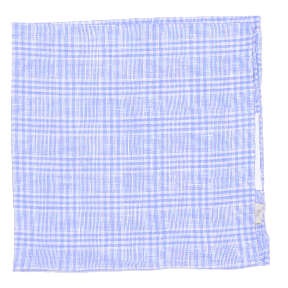 Linen Glen Plaid Pocket Square - Light Blue