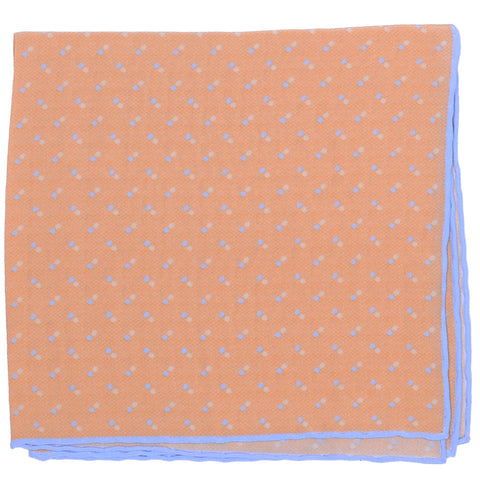 Silk Double Dot Square - Orange and Blue