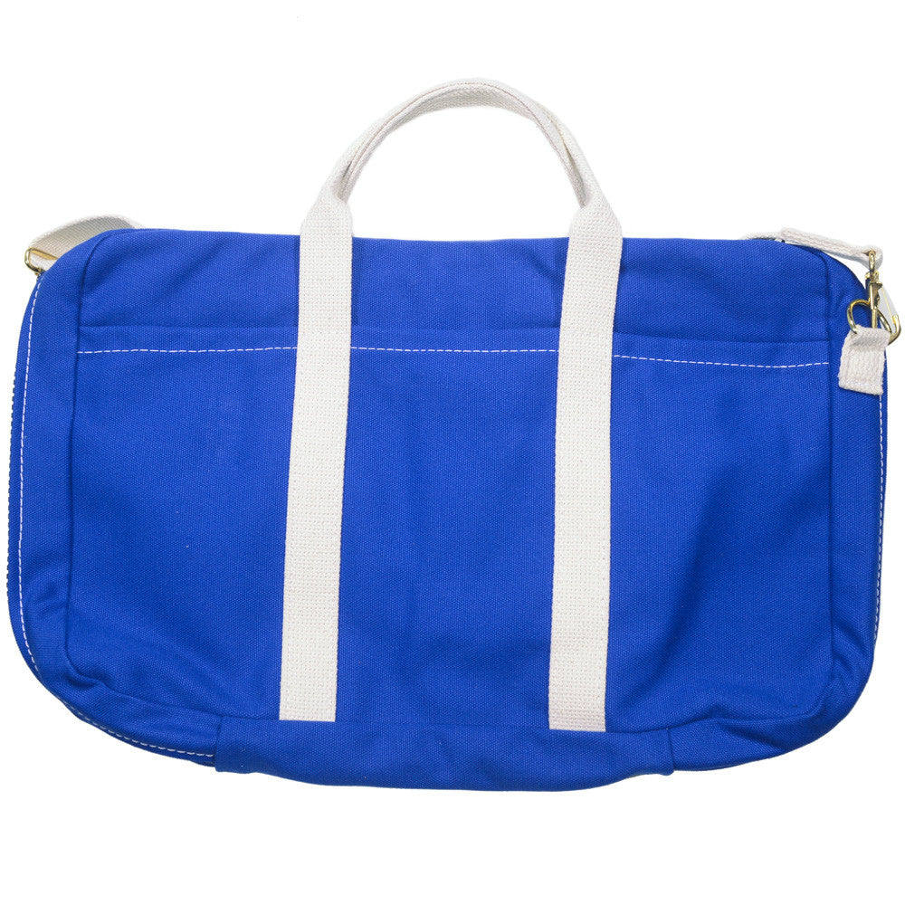 Canvas Briefcase - Blue and White