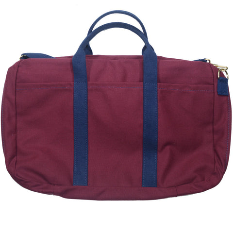 Canvas Briefcase - Burgundy and Navy