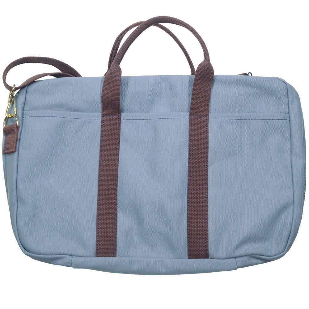Canvas Briefcase - Gray and Brown