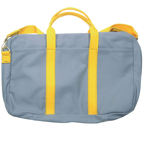 Canvas Briefcase - Gray and Yellow