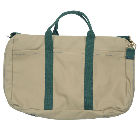Canvas Briefcase - Tan and Green