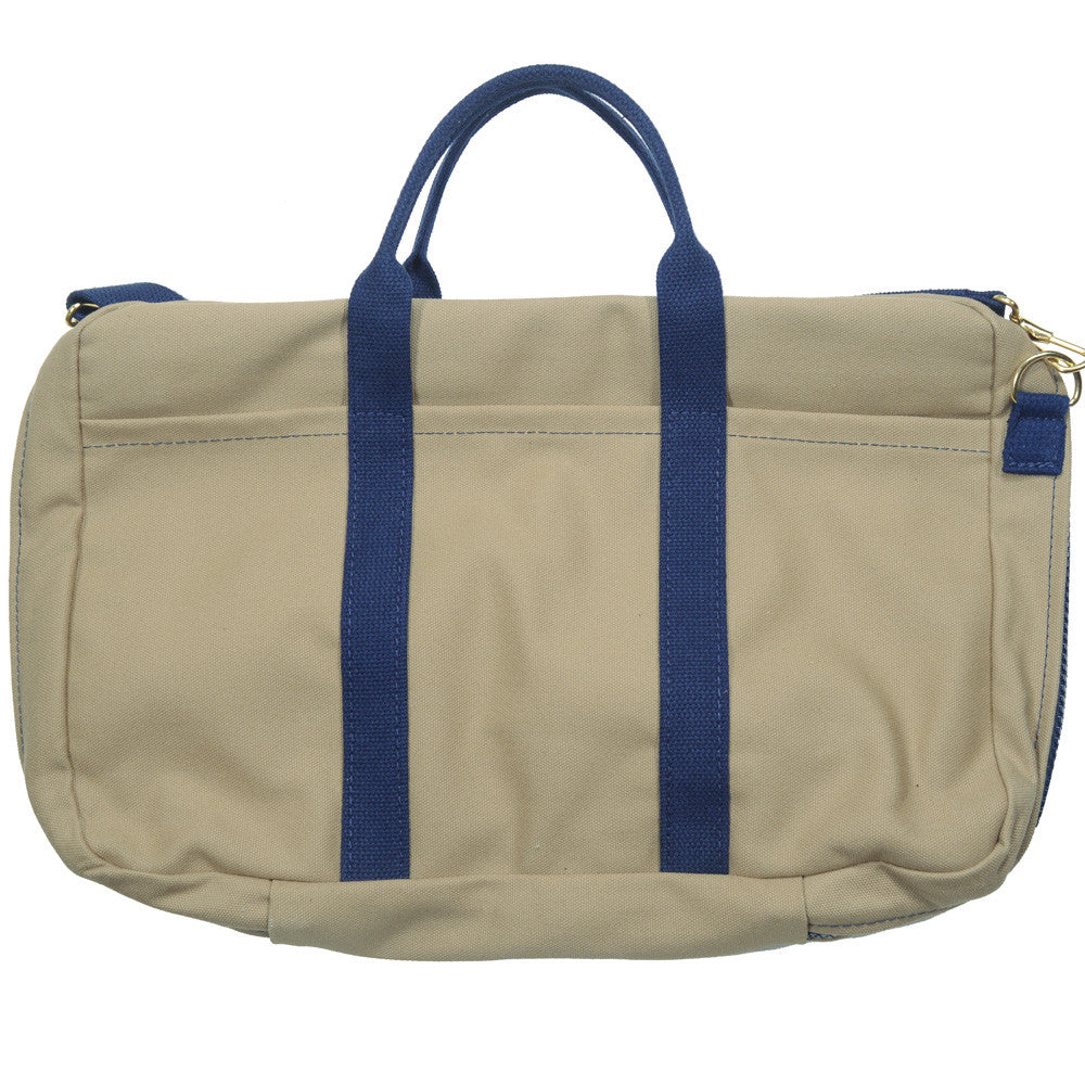 Canvas Briefcase - Tan and Navy