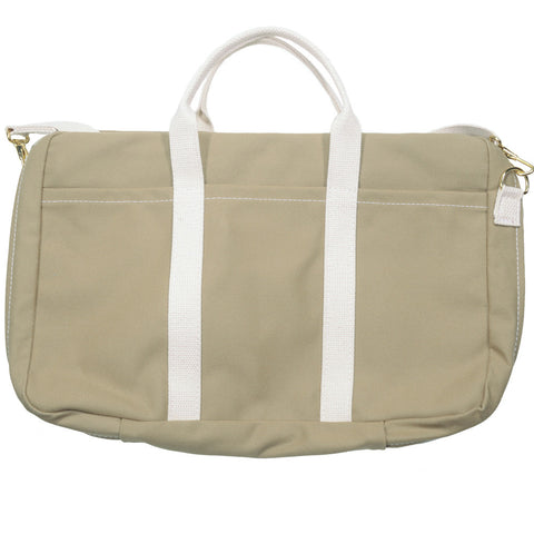 Canvas Briefcase - Tan and White