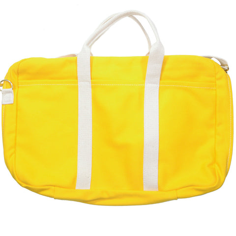 Canvas Briefcase - Yellow and White