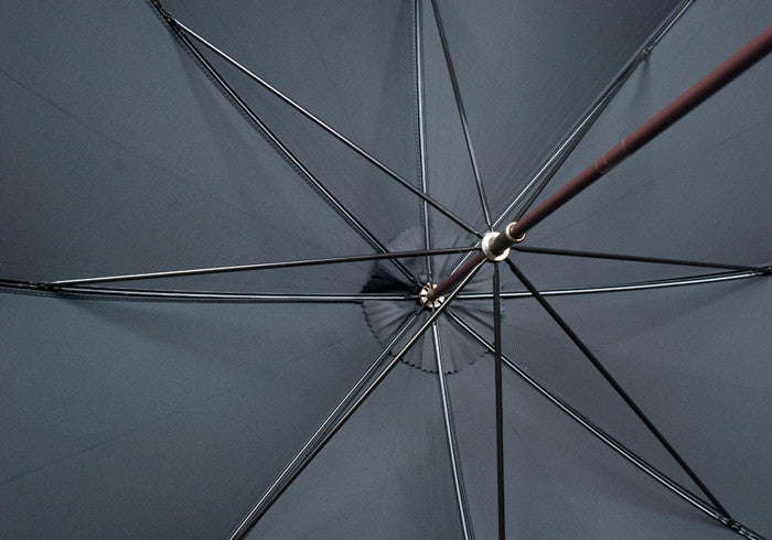 Dark Brown Ash Sleek Umbrella - Navy