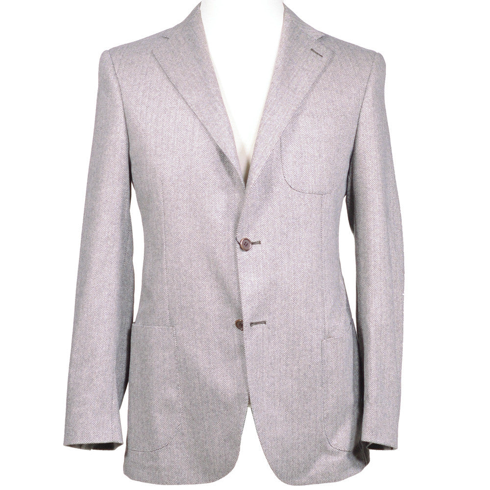 Gray Herringbone Cashmere Jacket