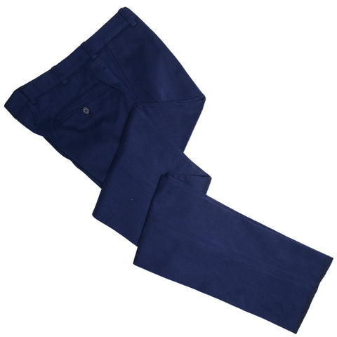 Fall Winter Italian Cotton Twill Pants - Navy