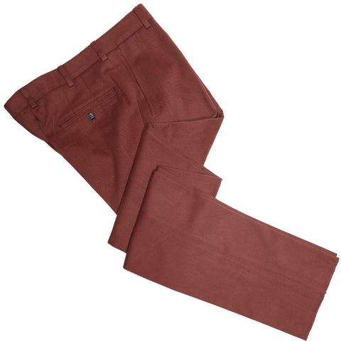 Fall Winter Italian Cotton Twill Pants - Rust