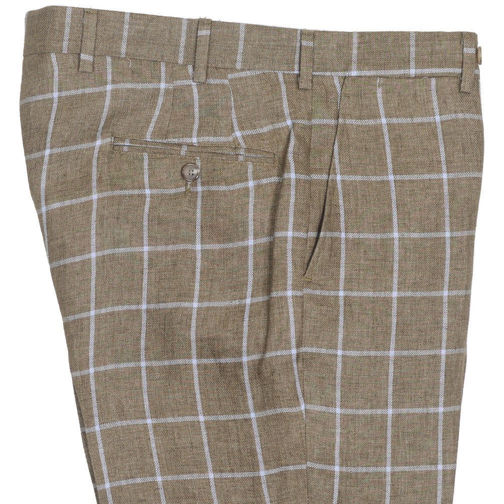 Windowpane Linen Pants - Brown
