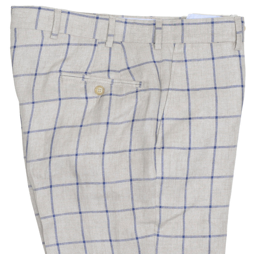 Windowpane Linen Pants - Beige